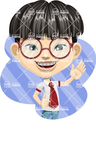 Asian School Boy Cartoon Vector Character AKA Jeng Li - Shape 1