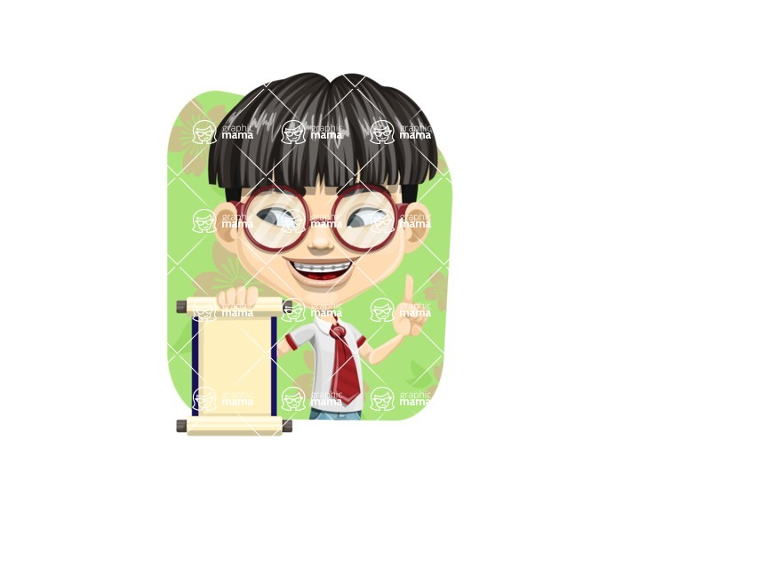 Asian School Boy Cartoon Vector Character AKA Jeng Li - Shape 2