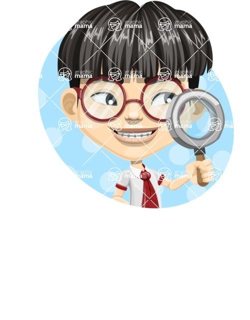 Asian School Boy Cartoon Vector Character AKA Jeng Li - Shape 3