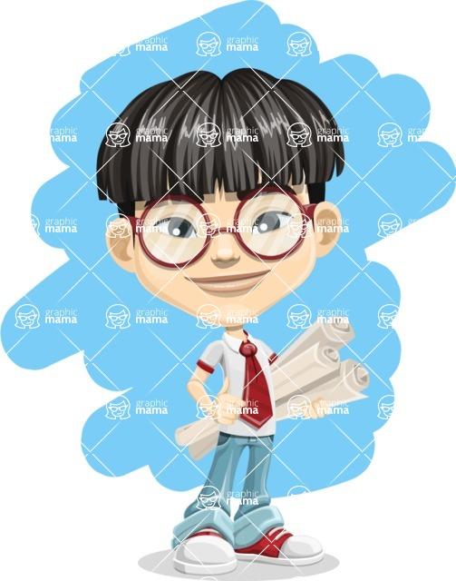 Asian School Boy Cartoon Vector Character AKA Jeng Li - Shape 5
