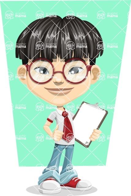 Asian School Boy Cartoon Vector Character AKA Jeng Li - Shape 6