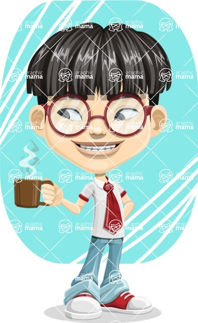 Asian School Boy Cartoon Vector Character AKA Jeng Li - Shape 9
