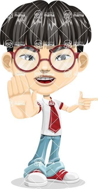 Asian School Boy Cartoon Vector Character AKA Jeng Li - Direct Attention