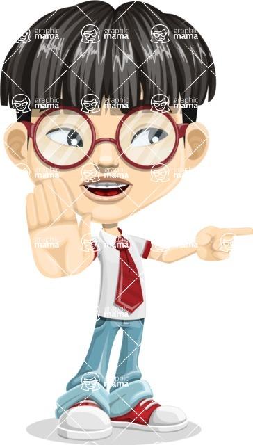 Asian School Boy Cartoon Vector Character AKA Jeng Li - Direct Attention 2