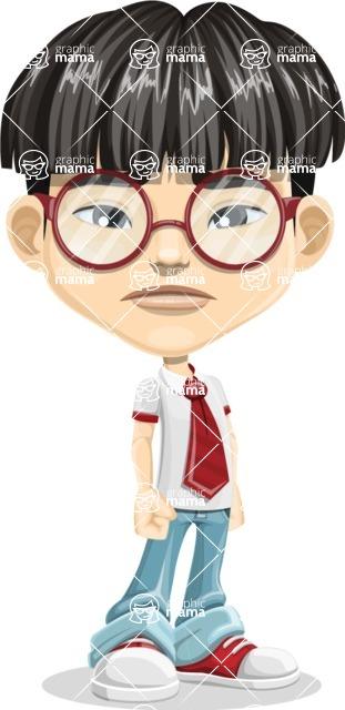 Asian School Boy Cartoon Vector Character AKA Jeng Li - Sad