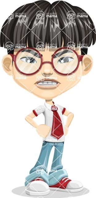 Asian School Boy Cartoon Vector Character AKA Jeng Li - Angry
