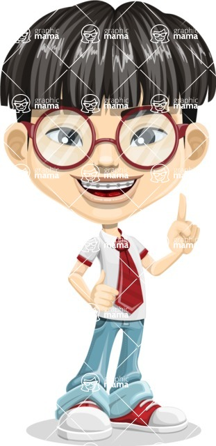 Asian School Boy Cartoon Vector Character AKA Jeng Li - Attention