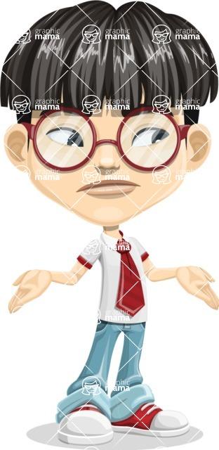 Asian School Boy Cartoon Vector Character AKA Jeng Li - Lost