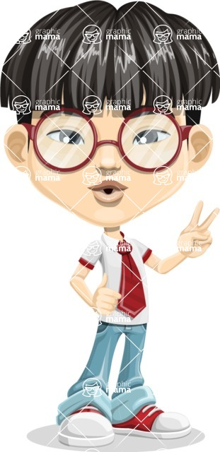 Asian School Boy Cartoon Vector Character AKA Jeng Li - Duck face