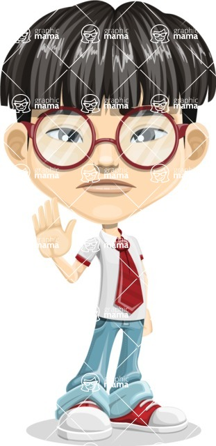 Asian School Boy Cartoon Vector Character AKA Jeng Li - GoodBye