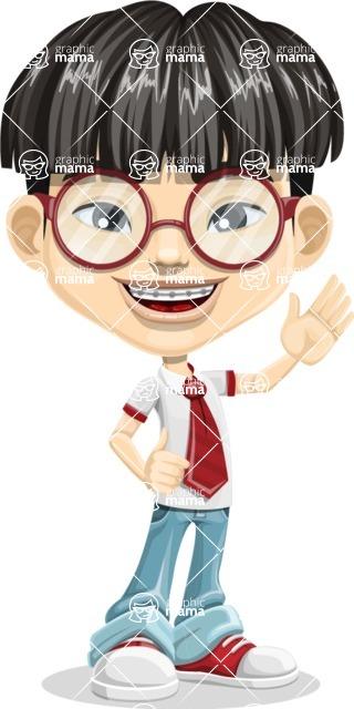 Asian School Boy Cartoon Vector Character AKA Jeng Li - Hello