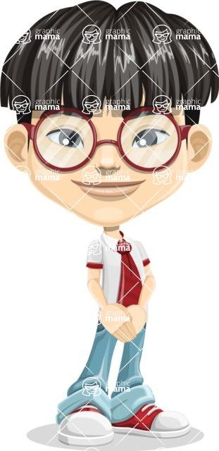 Asian School Boy Cartoon Vector Character AKA Jeng Li - Patient