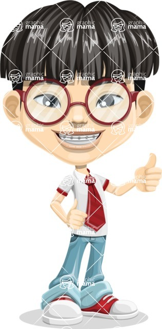Asian School Boy Cartoon Vector Character AKA Jeng Li - Thumbs Up