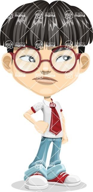 Asian School Boy Cartoon Vector Character AKA Jeng Li - Bored 2