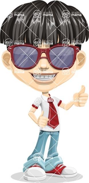 Asian School Boy Cartoon Vector Character AKA Jeng Li - Sunglasses