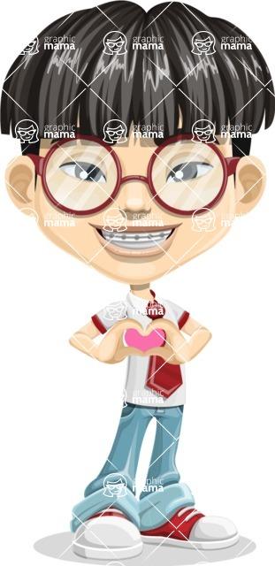 Asian School Boy Cartoon Vector Character AKA Jeng Li - Show Love