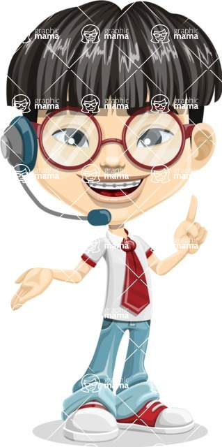 Asian School Boy Cartoon Vector Character AKA Jeng Li - Support 2