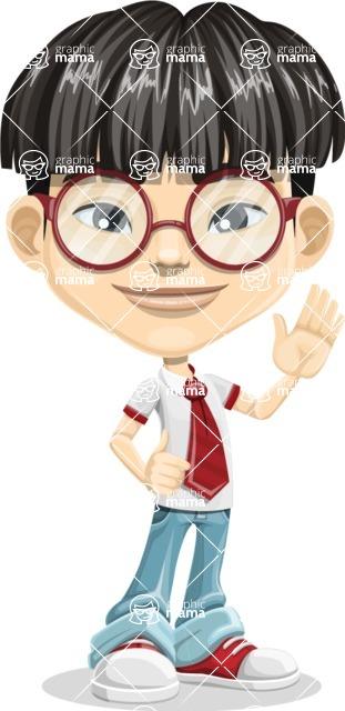 Asian School Boy Cartoon Vector Character AKA Jeng Li - Wave