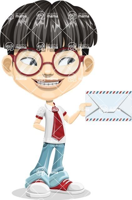 Asian School Boy Cartoon Vector Character AKA Jeng Li - Letter