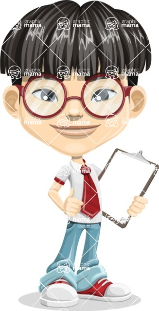 Asian School Boy Cartoon Vector Character AKA Jeng Li - Note 1