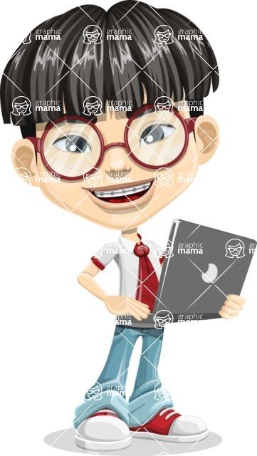 Asian School Boy Cartoon Vector Character AKA Jeng Li - Laptop