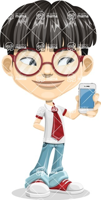 Asian School Boy Cartoon Vector Character AKA Jeng Li - iPhone