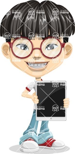 Asian School Boy Cartoon Vector Character AKA Jeng Li - iPad 1