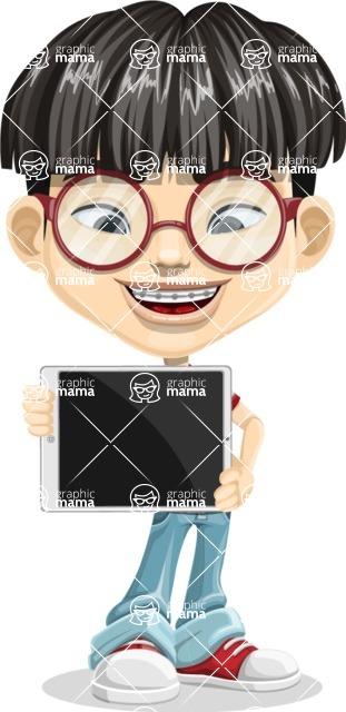 Asian School Boy Cartoon Vector Character AKA Jeng Li - iPad 2