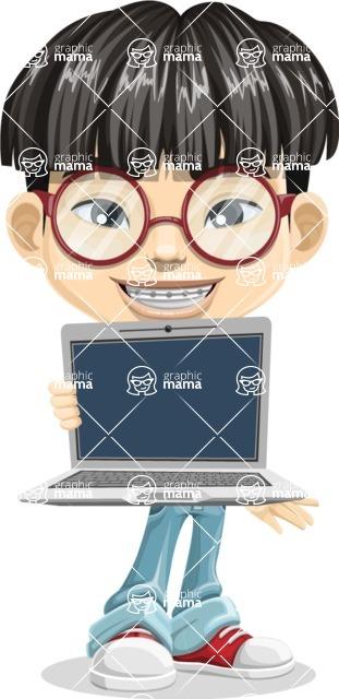 Asian School Boy Cartoon Vector Character AKA Jeng Li - Laptop 1