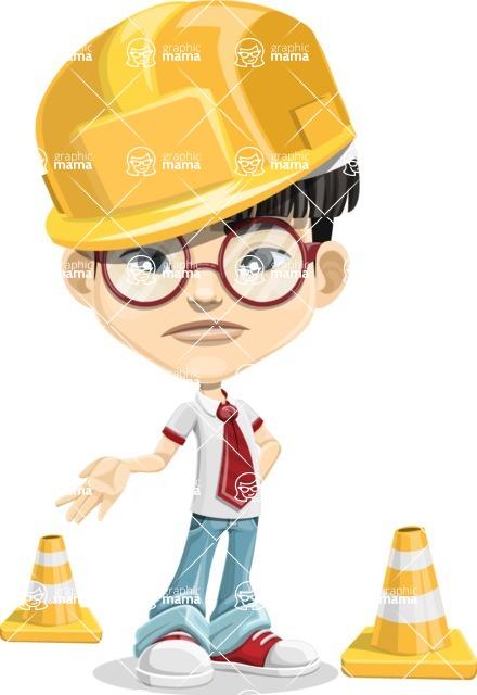 Asian School Boy Cartoon Vector Character AKA Jeng Li - Under Construction