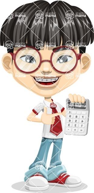 Asian School Boy Cartoon Vector Character AKA Jeng Li - Calculator