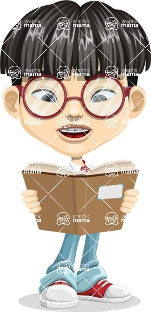 Asian School Boy Cartoon Vector Character AKA Jeng Li - Book 1