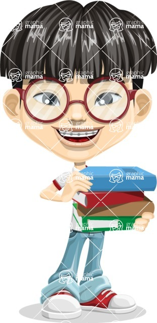 Asian School Boy Cartoon Vector Character AKA Jeng Li - Book 2