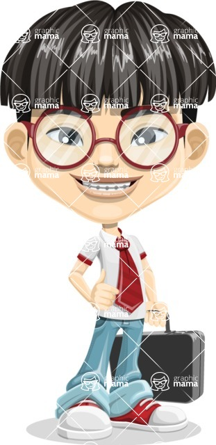 Asian School Boy Cartoon Vector Character AKA Jeng Li - Briefcase 1