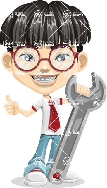 Asian School Boy Cartoon Vector Character AKA Jeng Li - Repair