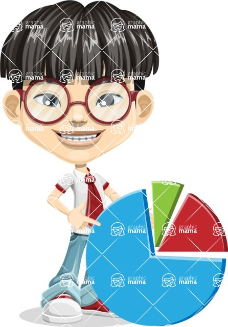 Asian School Boy Cartoon Vector Character AKA Jeng Li - Chart