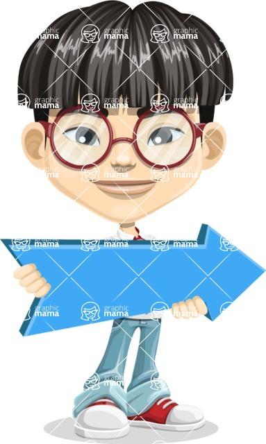 Asian School Boy Cartoon Vector Character AKA Jeng Li - Pointer 2