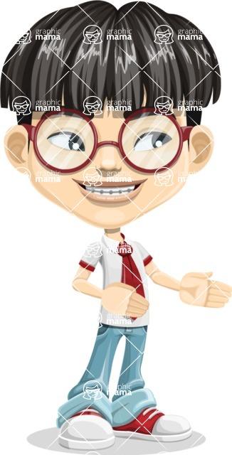 Asian School Boy Cartoon Vector Character AKA Jeng Li - Show