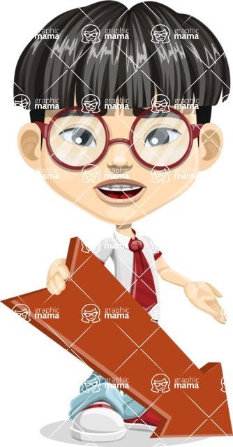 Asian School Boy Cartoon Vector Character AKA Jeng Li - Pointer 3