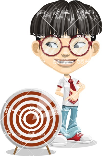 Asian School Boy Cartoon Vector Character AKA Jeng Li - Target