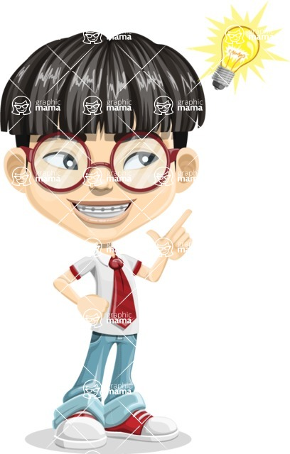 Asian School Boy Cartoon Vector Character AKA Jeng Li - Idea 2