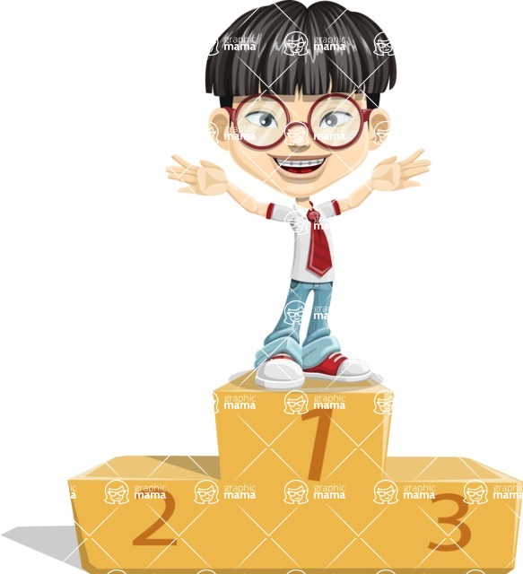 Asian School Boy Cartoon Vector Character AKA Jeng Li - On Top