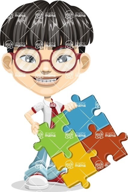 Asian School Boy Cartoon Vector Character AKA Jeng Li - Puzzle