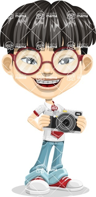 Asian School Boy Cartoon Vector Character AKA Jeng Li - Camera