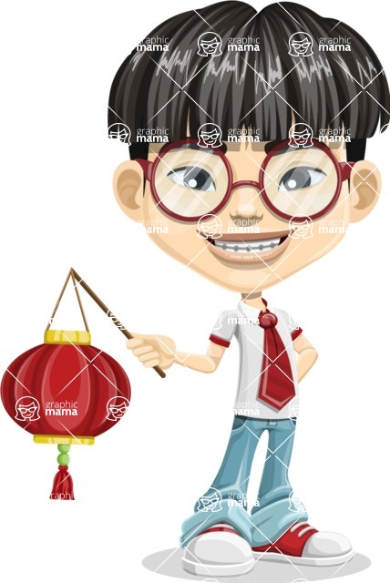 Asian School Boy Cartoon Vector Character AKA Jeng Li - Lantern