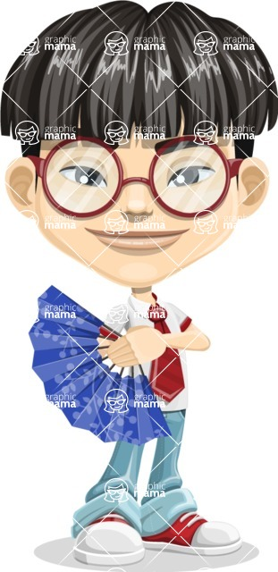 Asian School Boy Cartoon Vector Character AKA Jeng Li - Fan
