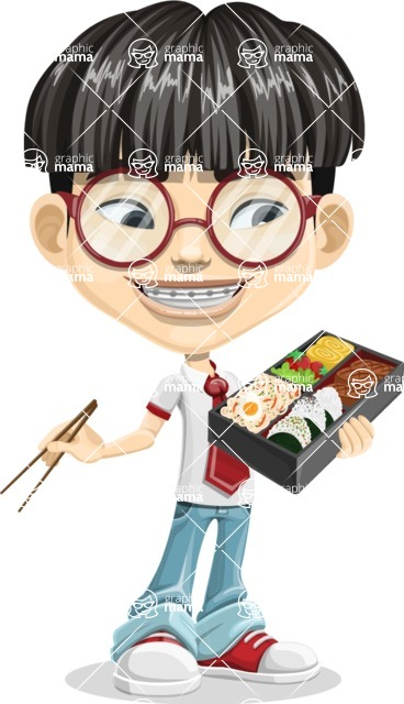 Asian School Boy Cartoon Vector Character AKA Jeng Li - Lunch box