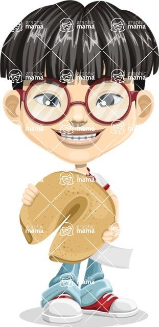 Asian School Boy Cartoon Vector Character AKA Jeng Li - Fortune cookie 1