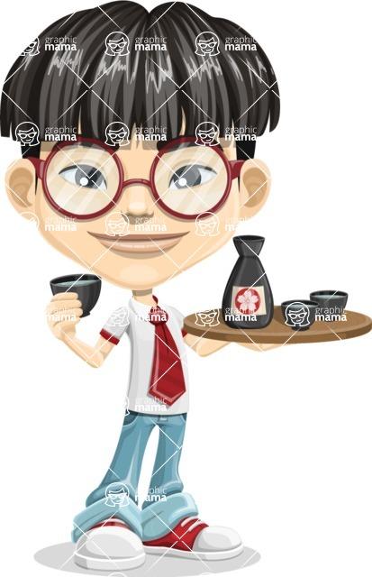 Asian School Boy Cartoon Vector Character AKA Jeng Li - Sake