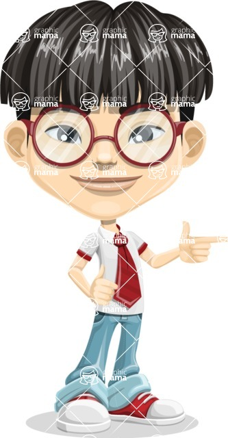 Asian School Boy Cartoon Vector Character AKA Jeng Li - Point